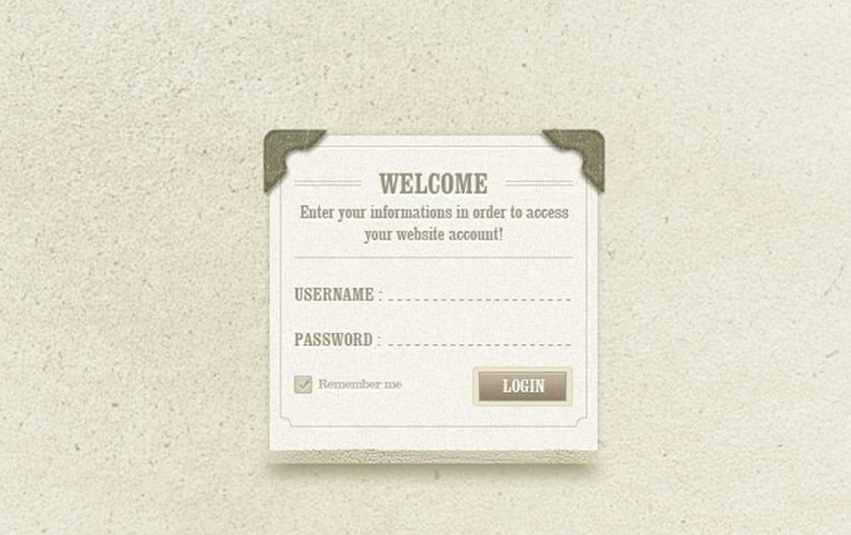 vintage classic login page design psd