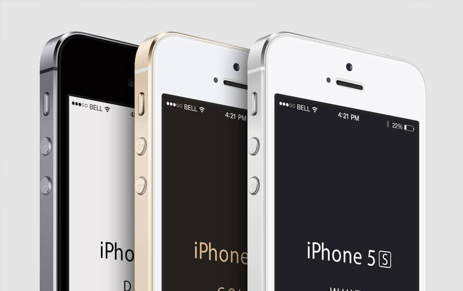 3-4 iPhone 5S Psd Vector Mockup
