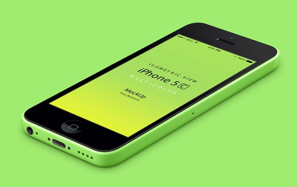 3D View iPhone 5C Psd Vector Mockup
