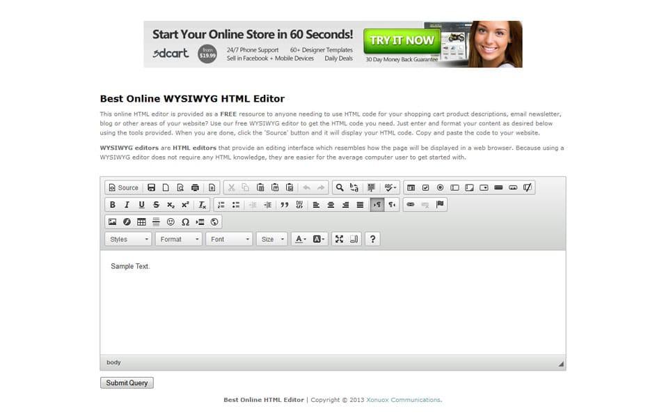 Best Online WYSIWYG HTML Editor