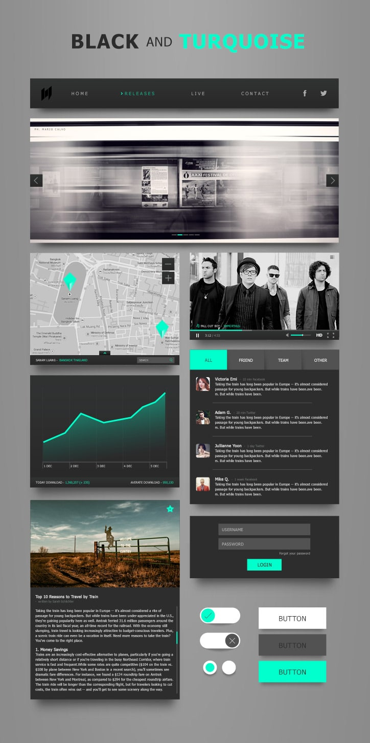 Black and Turquoise Ui Kit PSD