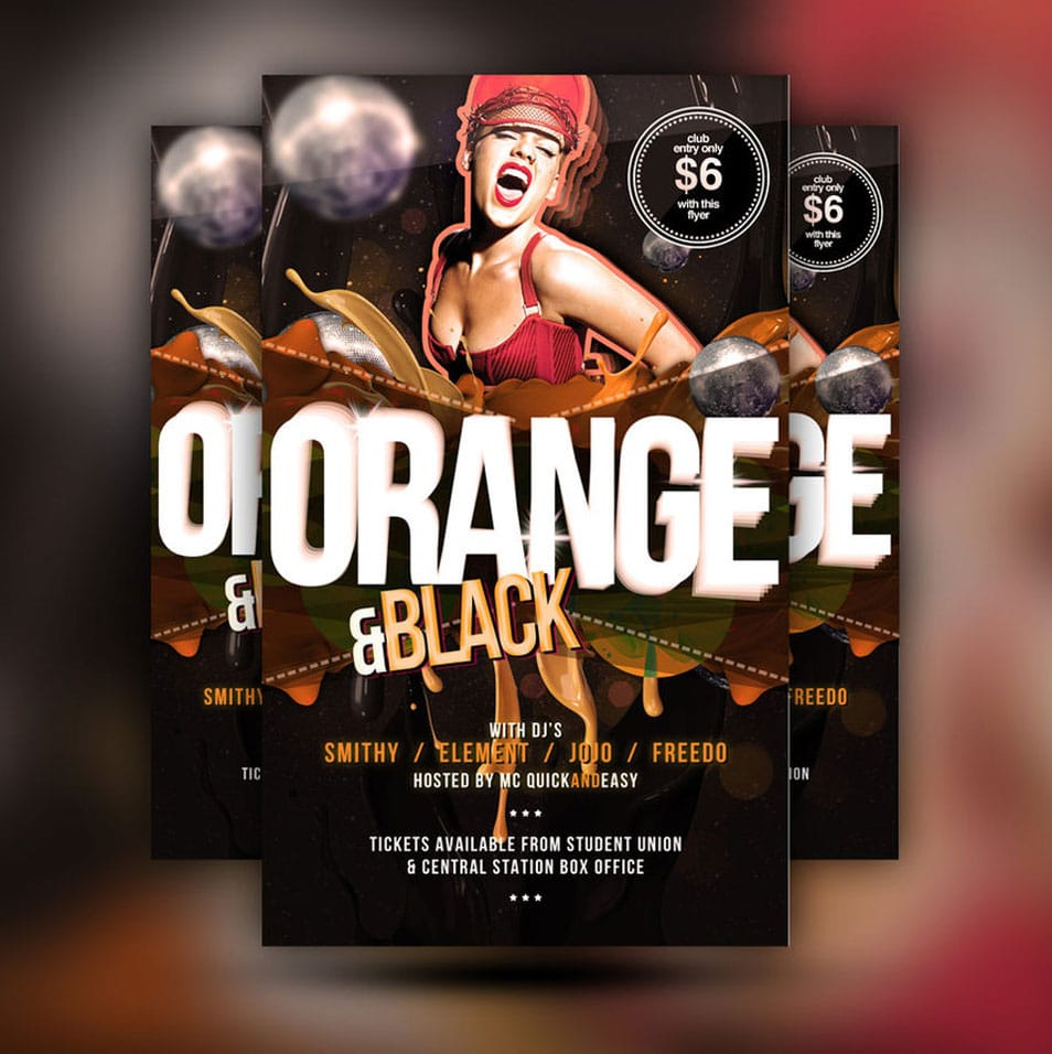 Black n Orange Free PSD Club Flyer Template