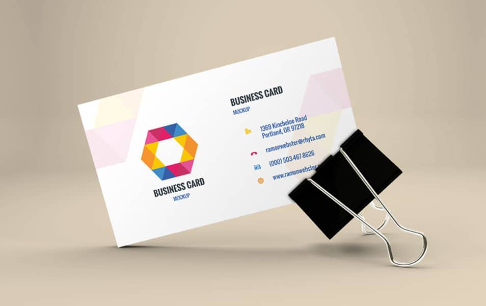 Business Card Mockup In Binder Clip