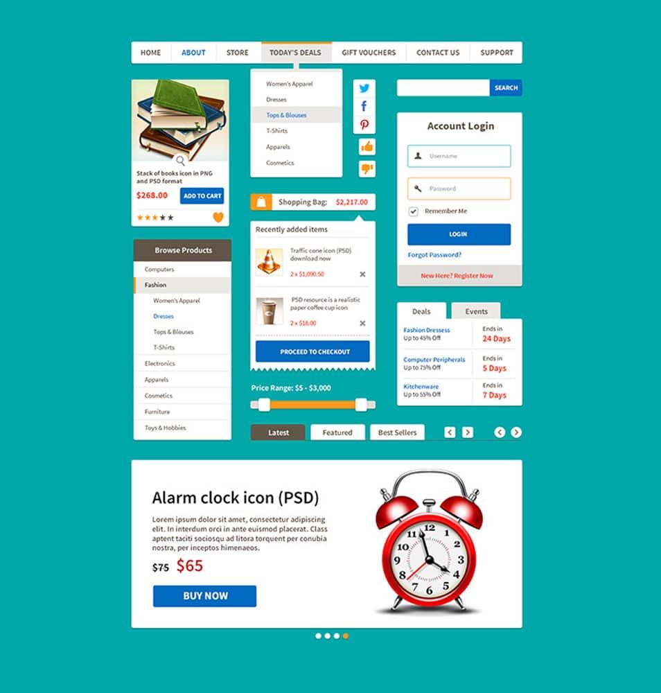 Ecommerce Flat UI Kit Free PSD