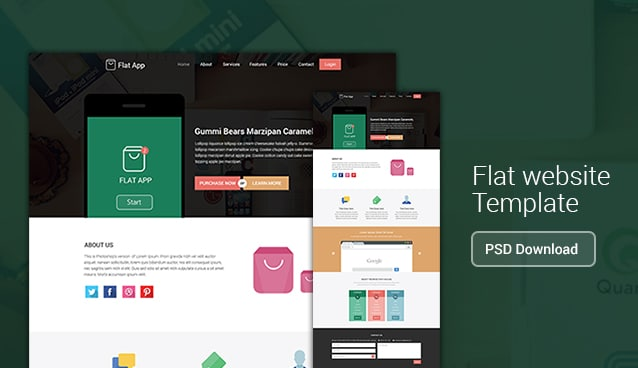 Flat App - Flat Website Template PSD Download - cssauthor.com