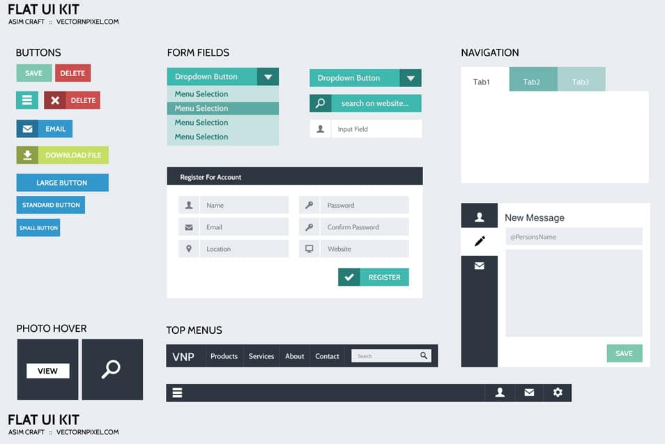 Flat Design UI Free PSD