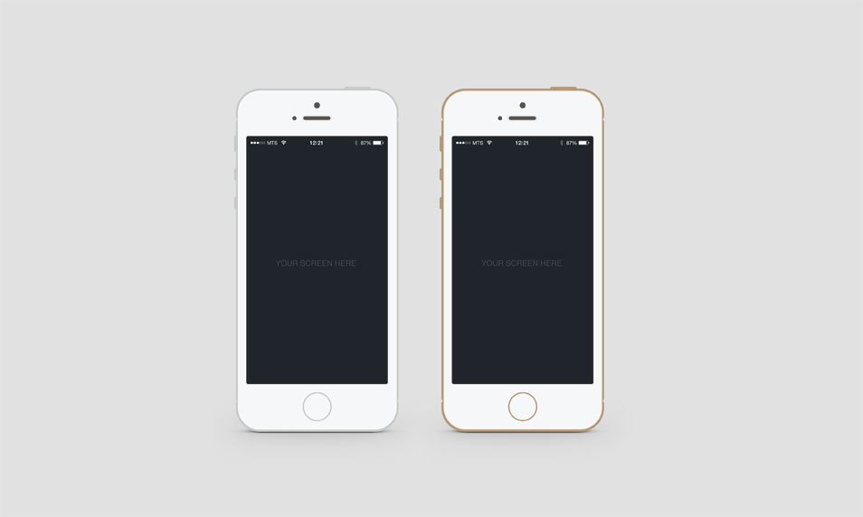 Flat iPhone 5S PSD Mockup