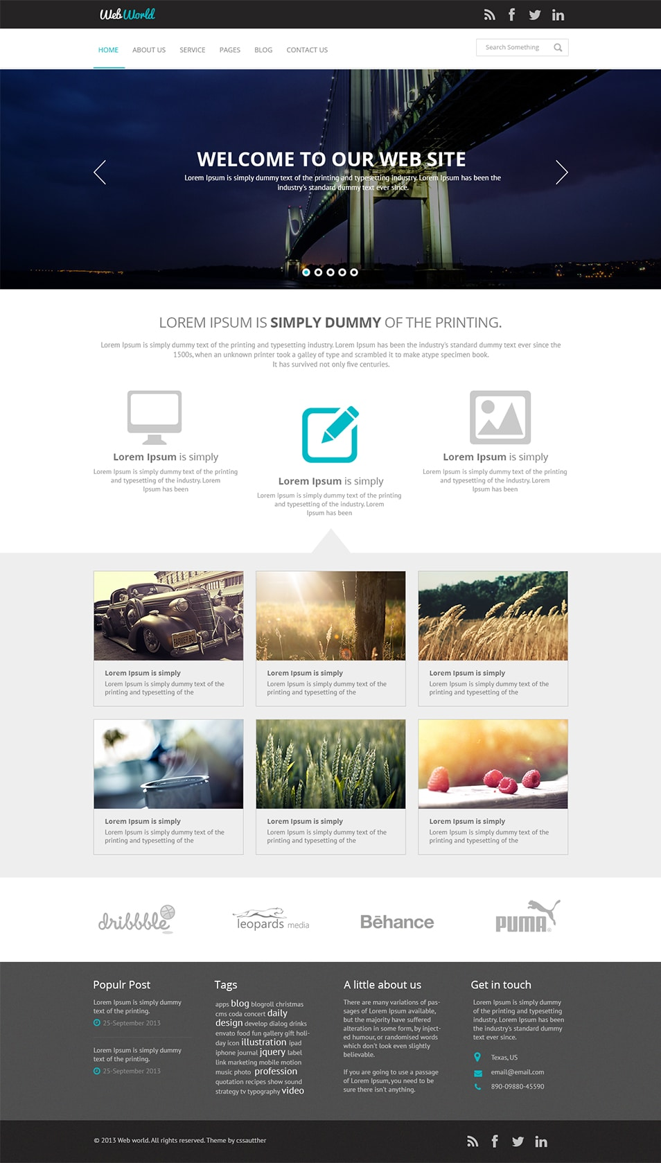 Free business web template psd css author for Website templates free download