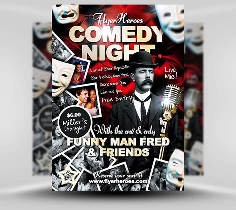 60 best flyer templates psd css author comedy flyer template