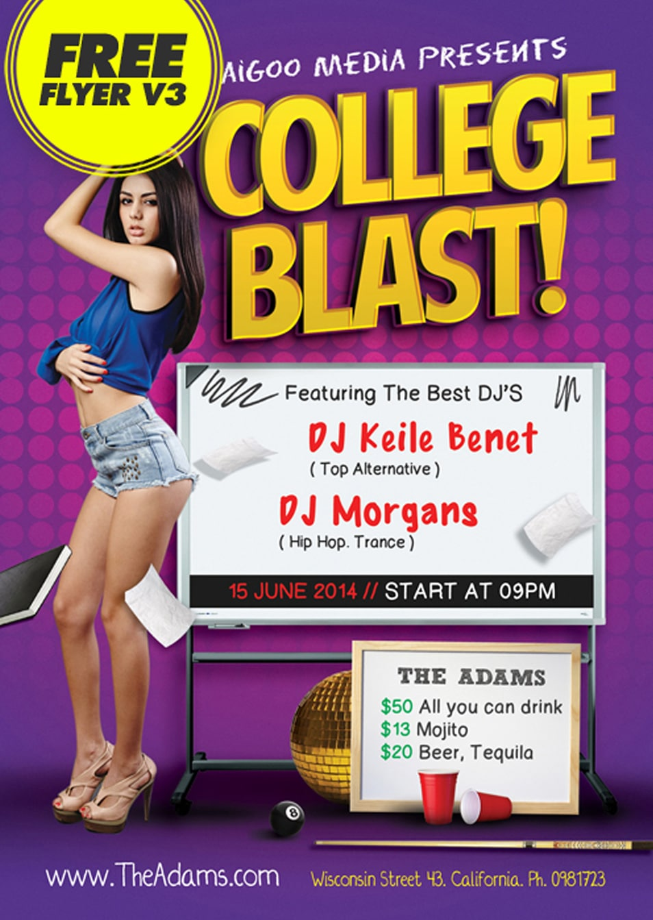 Free Download College Blast Flyer Psd Template