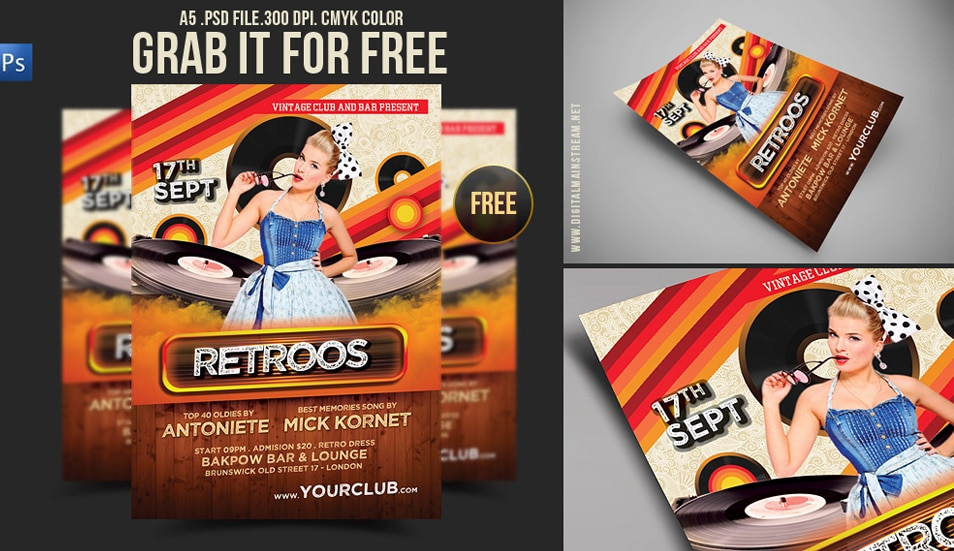 Free Download Retro Party Flyer Template