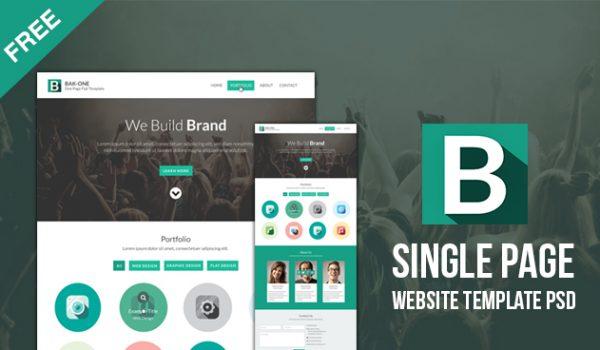 Free Flat Style Single Page Website Design Template PSD - cssauthor.com