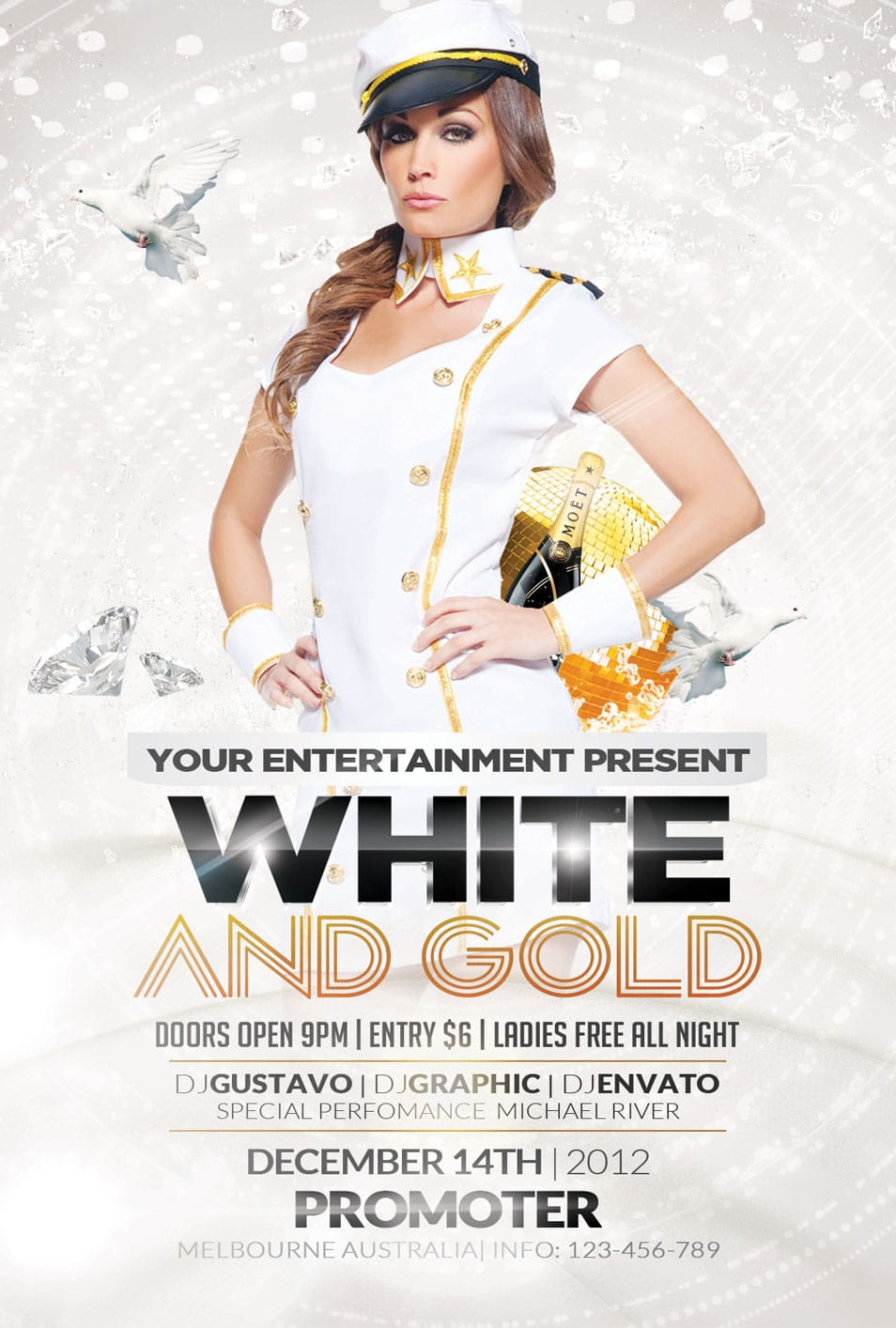 Free Flyer White and Gold Party