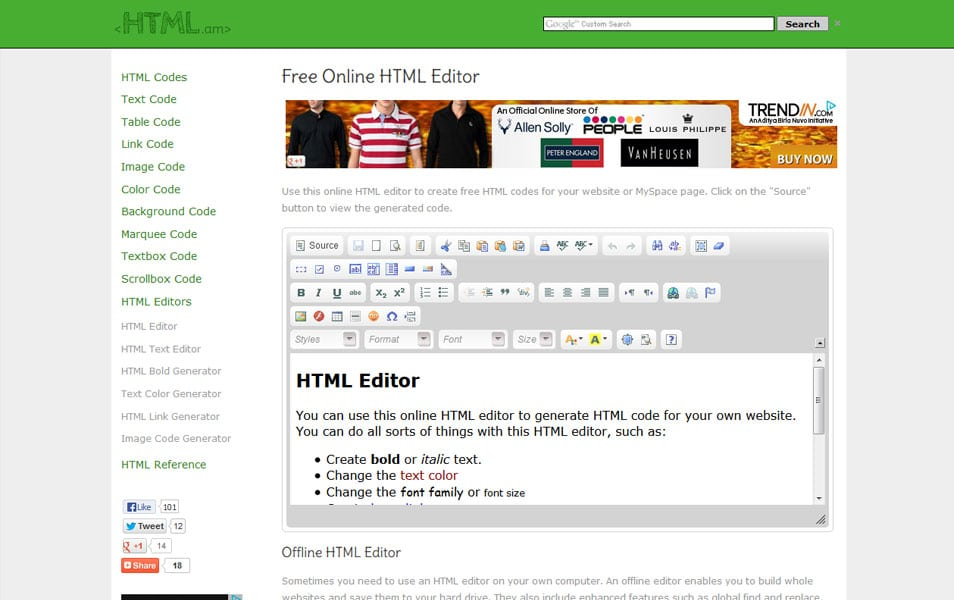 Free Online HTML Editor | HTML.am