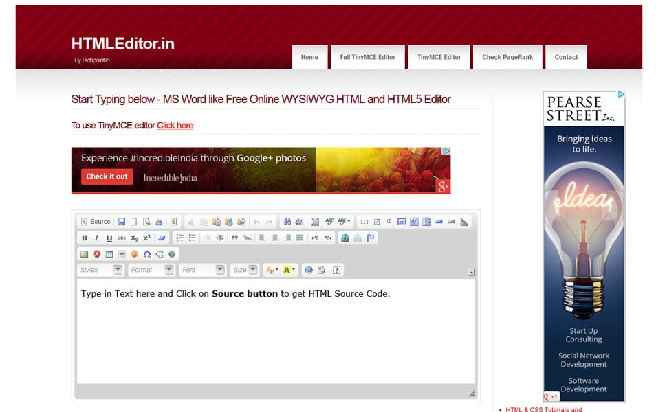 Free Online WYSIWYG HTML and HTML5 Editor