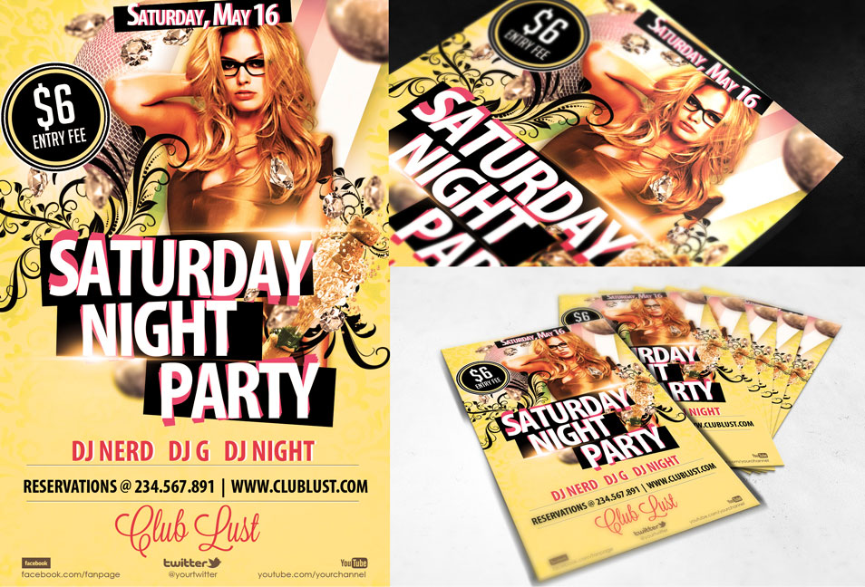 Free PSD Flyer Saturday Night Party