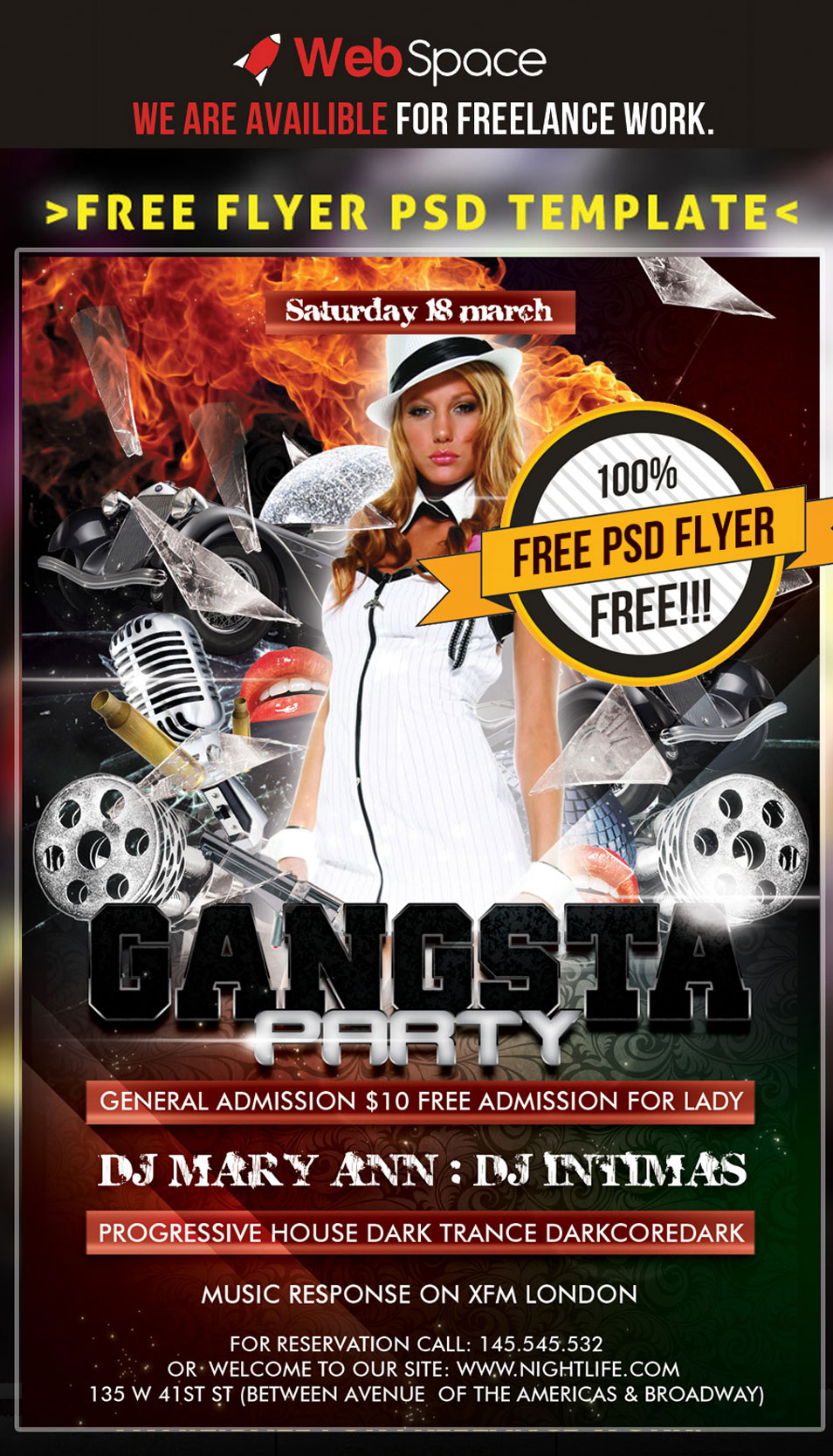 Free PSD Flyer Template Gangsta Party
