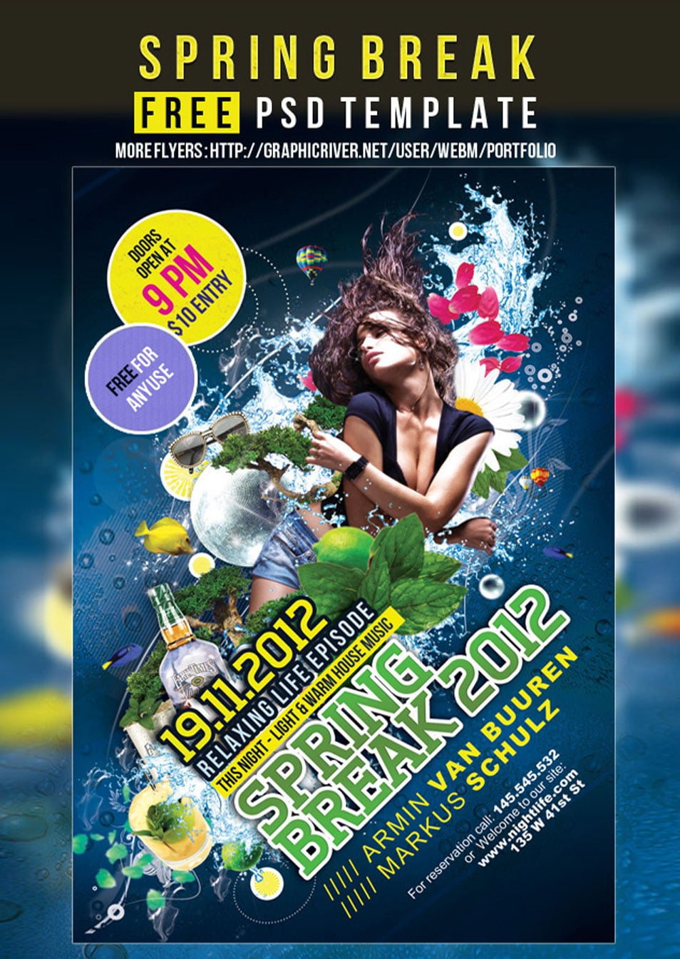 Free Party Flyer or Poster PSD template