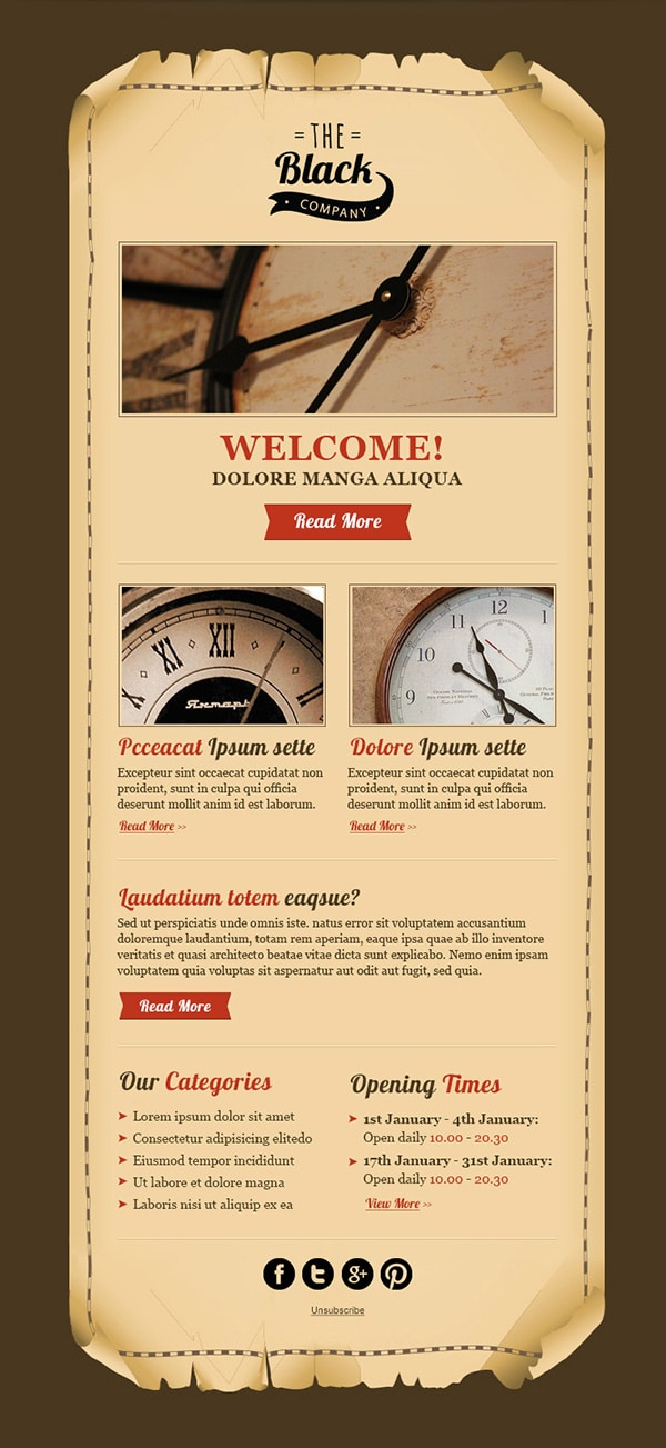 Free Vintage Email Template PSD