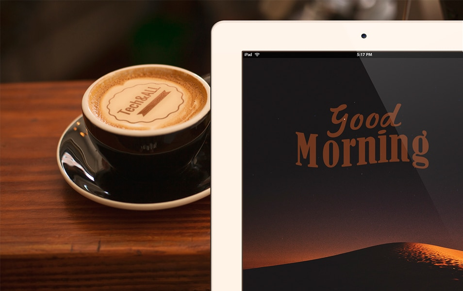 Good Morning Mockup (iPad and Latte Art)