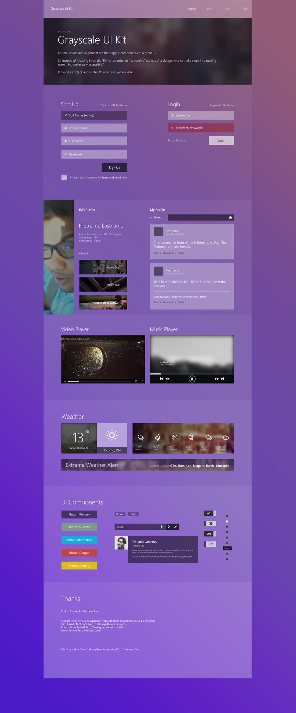 Grayscale UI Kit PSD