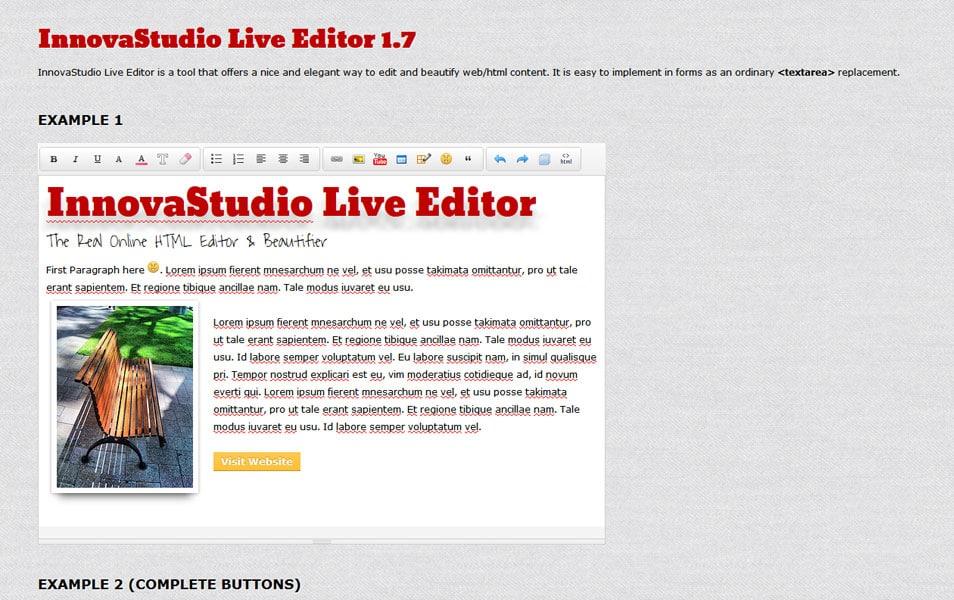 InnovaStudio Live Editor