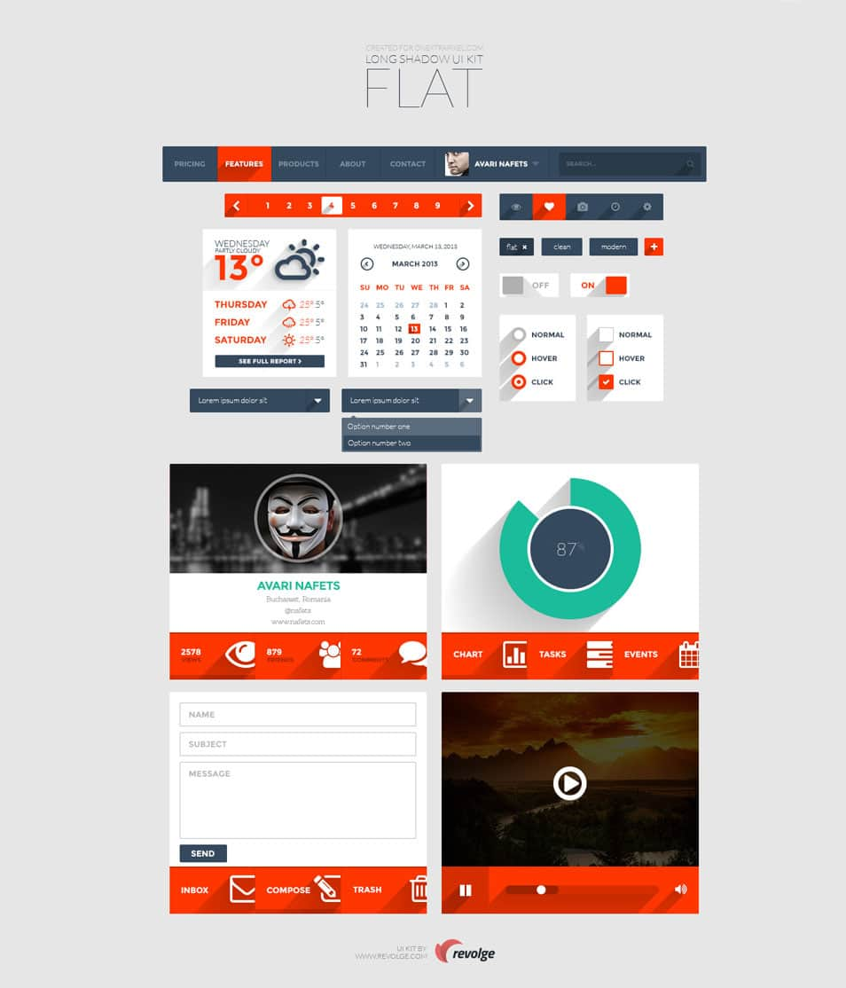 Long Shadow Flat UI Kit