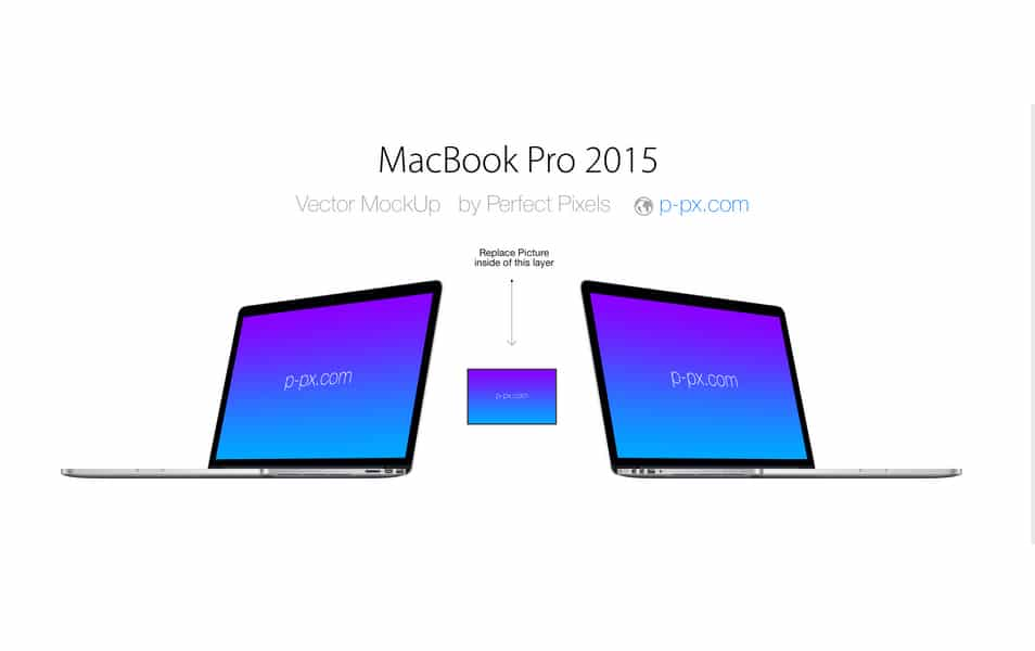 MacBook Pro 2015 Angled View PSD