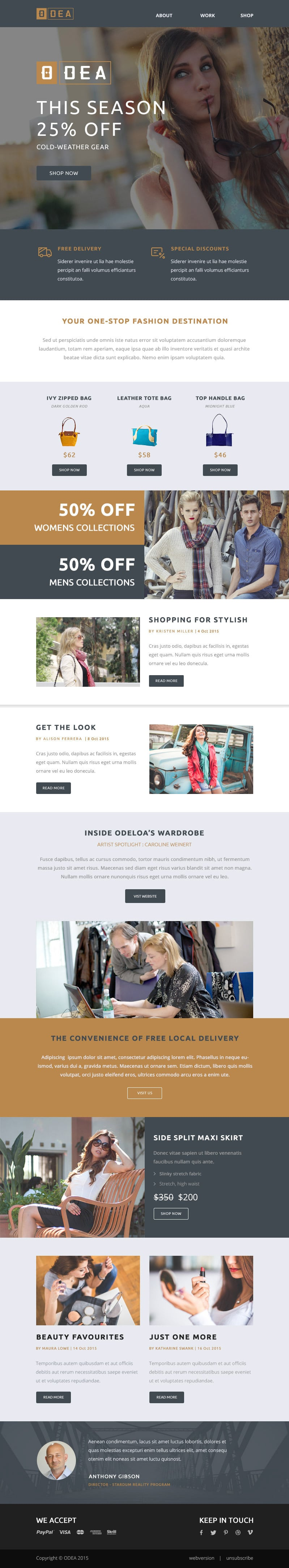 ODEA Free Email Newsletter Template PSD