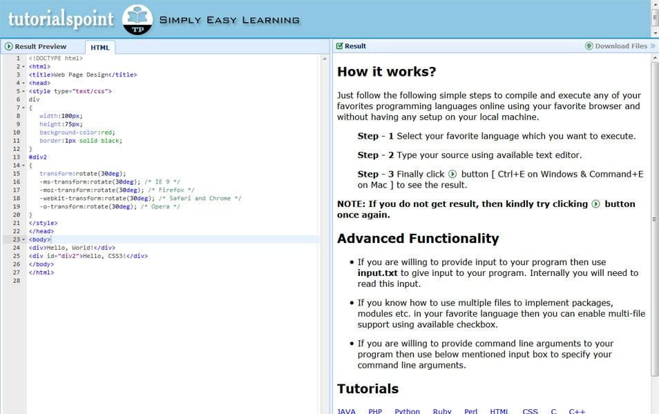 Online HTML-5 Editor | Tutorialspoint