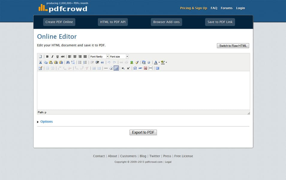 Online HTML to PDF Editor | pdfcrowd