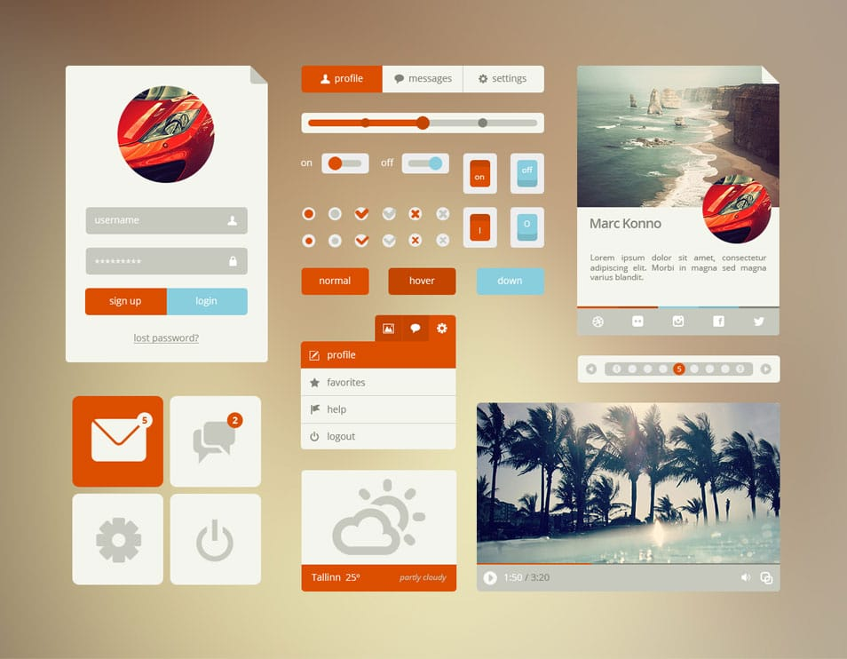 Orange or Cyan Flat UI Elements