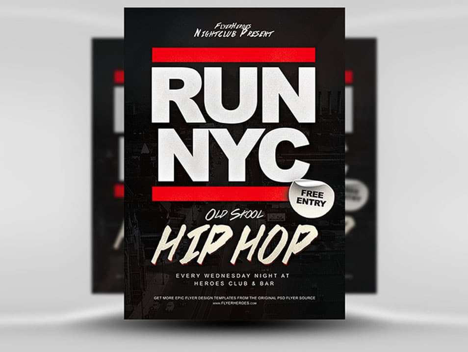RUN NYC Old Skool Hip Hop Flyer Template