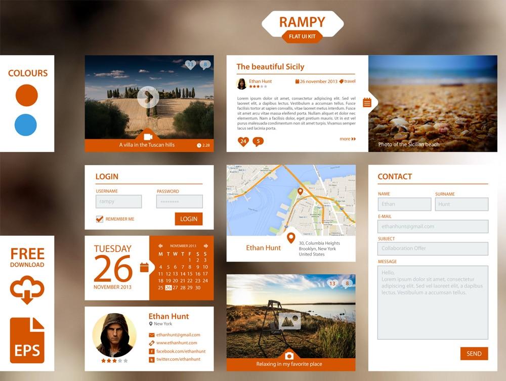 Rampy Flat UI Kit PSD