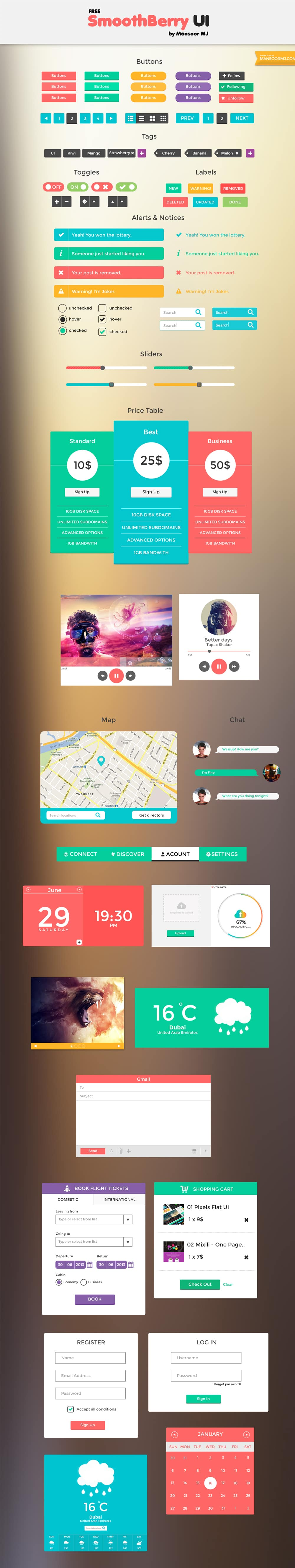 Smooth Berry UI PSD