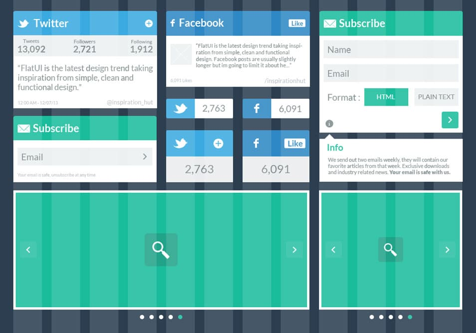 Social and Subscribe Flat UI Kit