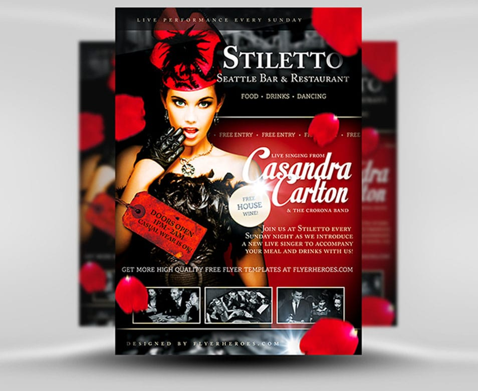 Stiletto Free Restaurant or Singer Flyer Template