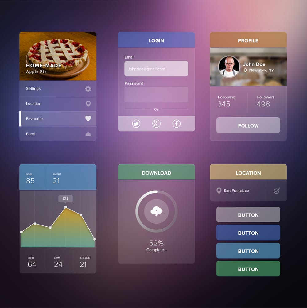 Transparent UI kit PSD
