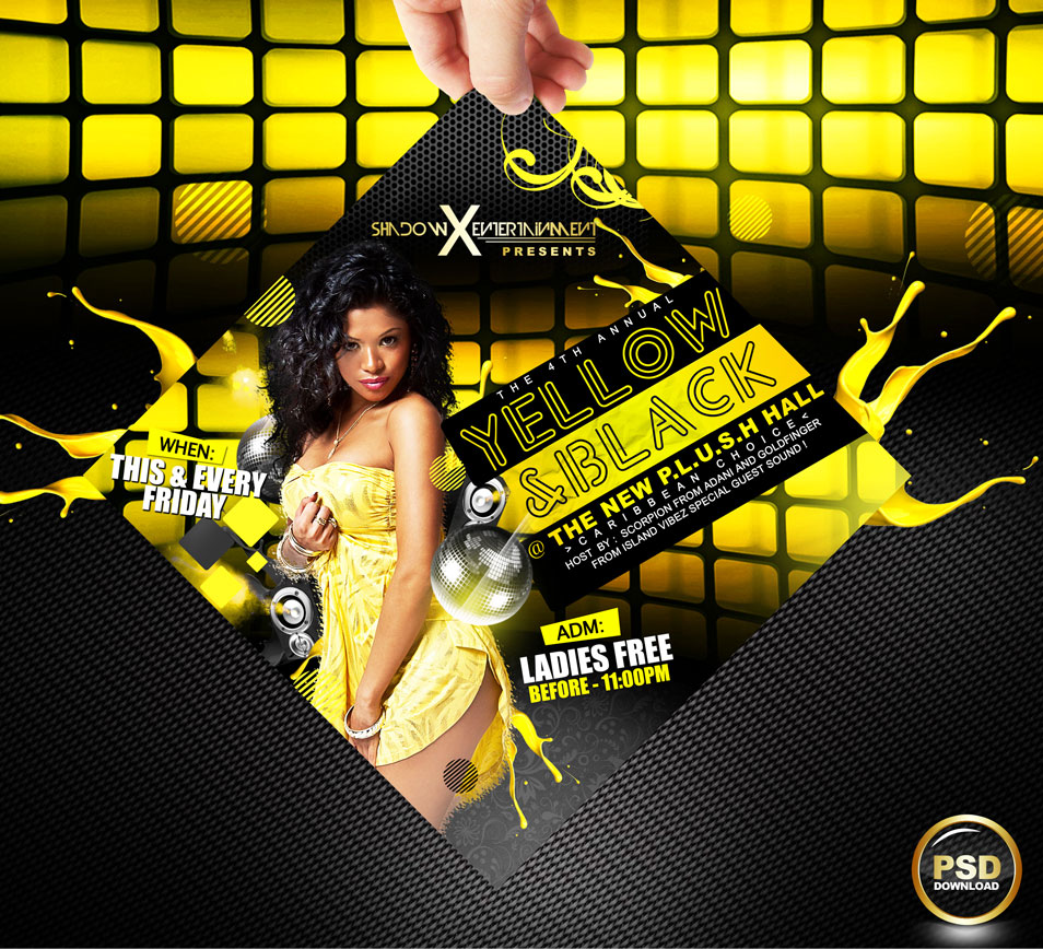 60 best flyer templates psd css author yellow and black party flyer psd