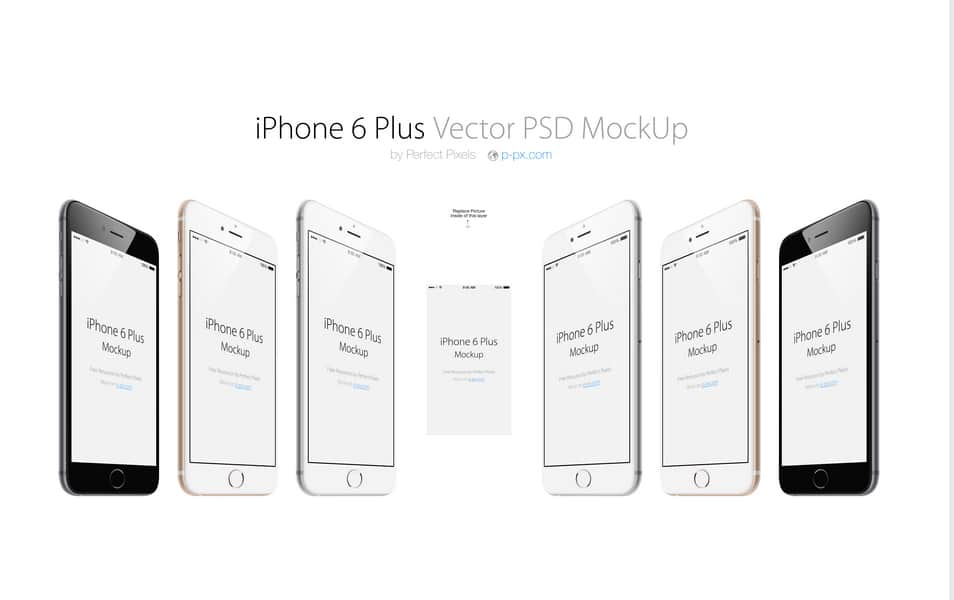 iPhone 6 Plus 3/4 Views Vector PSD Mockup
