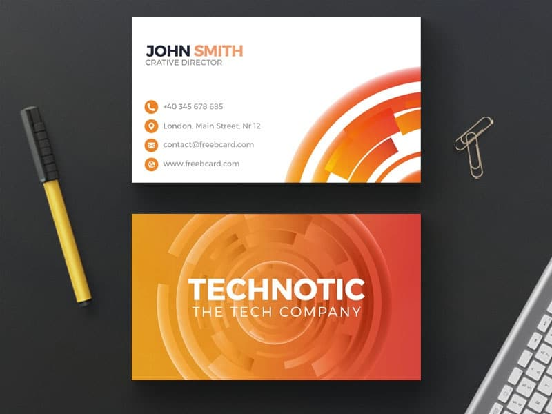 Abstract Orange Technology Business Card PSD