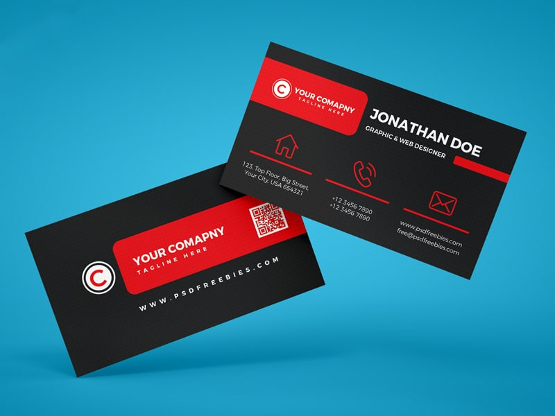Black Corporate Business Card Template PSD