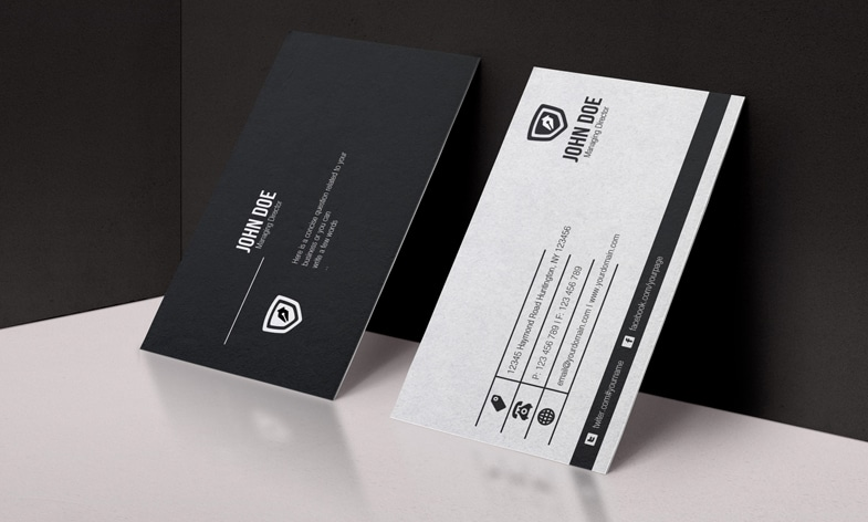 Black White Business Card Template PSD