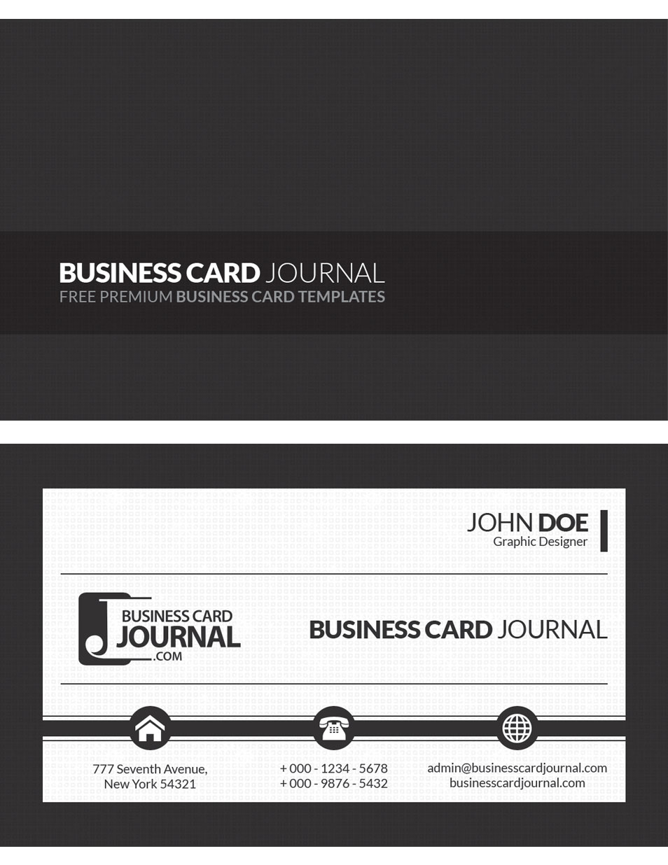 Black and White Corporate Business Card Template