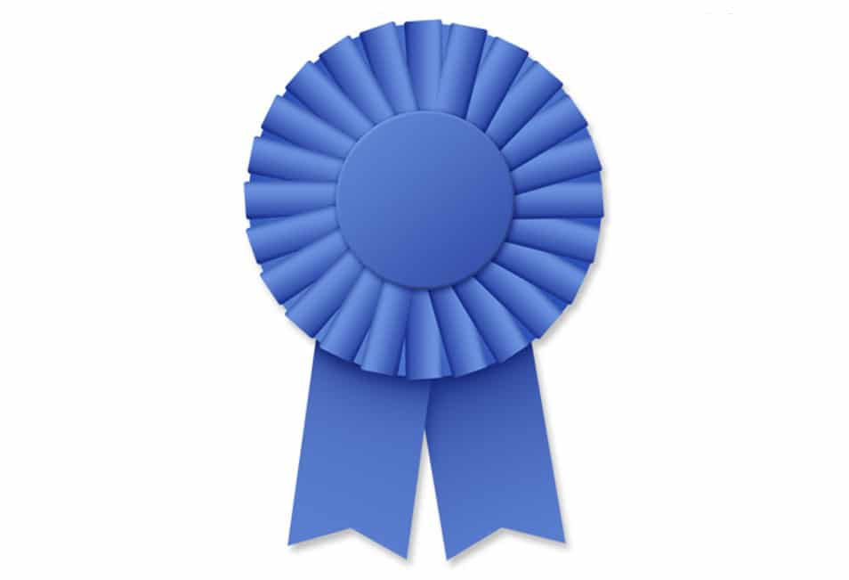 Blue ribbon rosette (PSD)