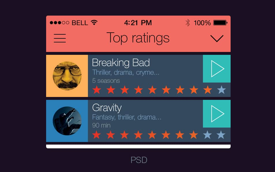 Cinema guide ios 7 app psd