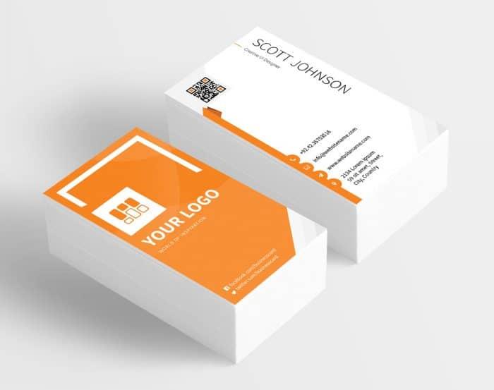 Corporate Orange Business Card PSD