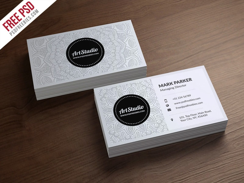 Creative White Business Card Template PSD