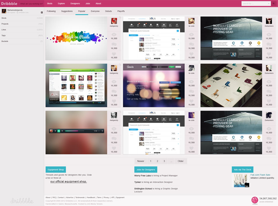 Dribbble Interface Template