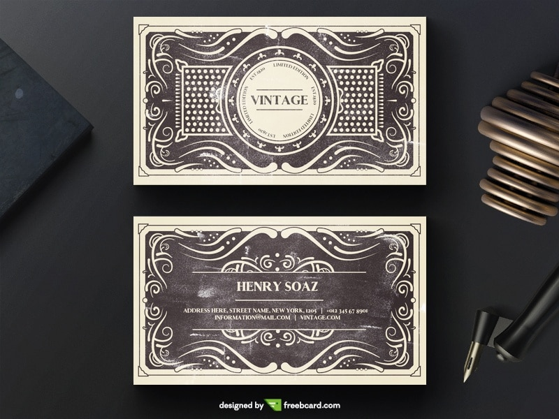 Elegant Black Vintage Business Card Template PSD